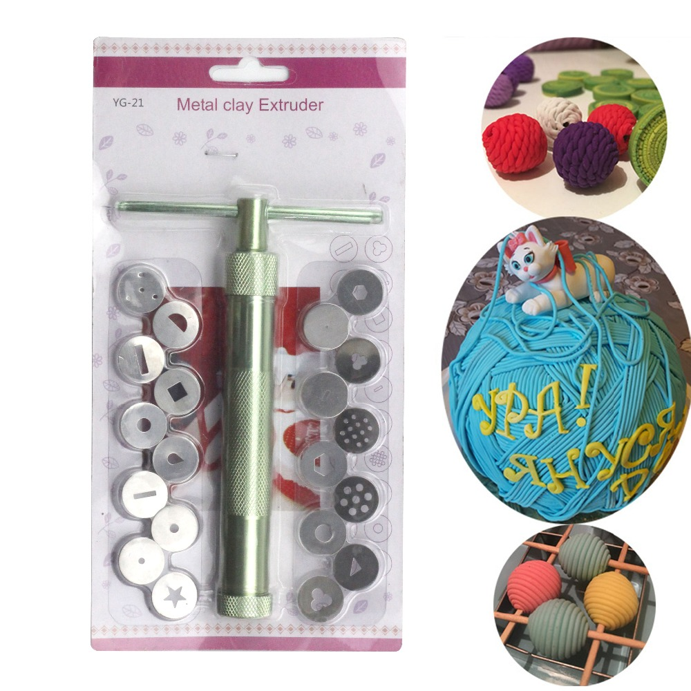 Baking tools Stainless Steel Sugar Paste Easy Extruder Craft Gun and 20 Tips Craft Fondant Cake Sculpture Polymer Clay Tools