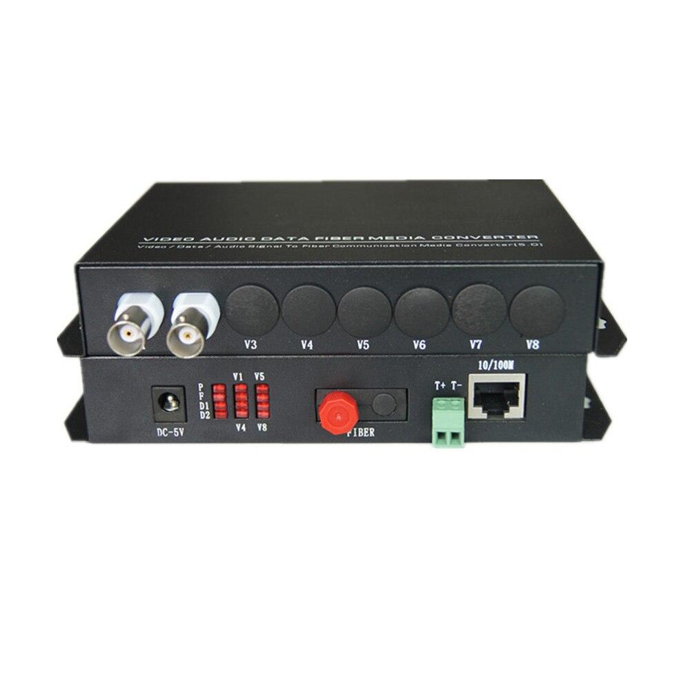 Multifunction Fiber optic media converters 2CH Video and 10/100M Ethernet RJ45 and RS485 Data - FC Singlemode 20Km