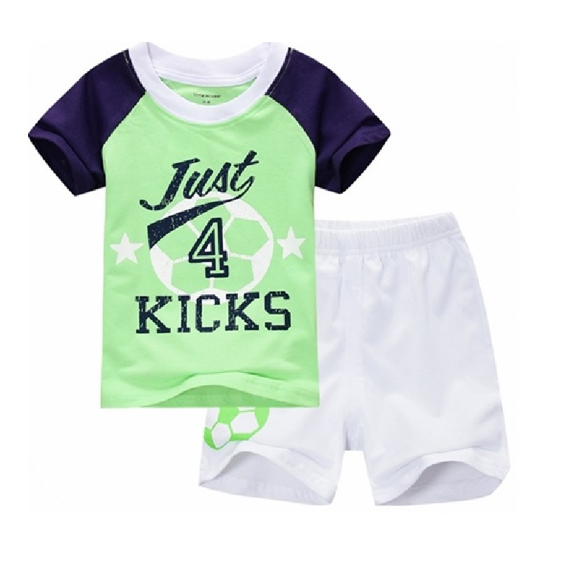 e85f3bea2b0c Football Children Clothes Sets Green T Shirt White Short Pants ...