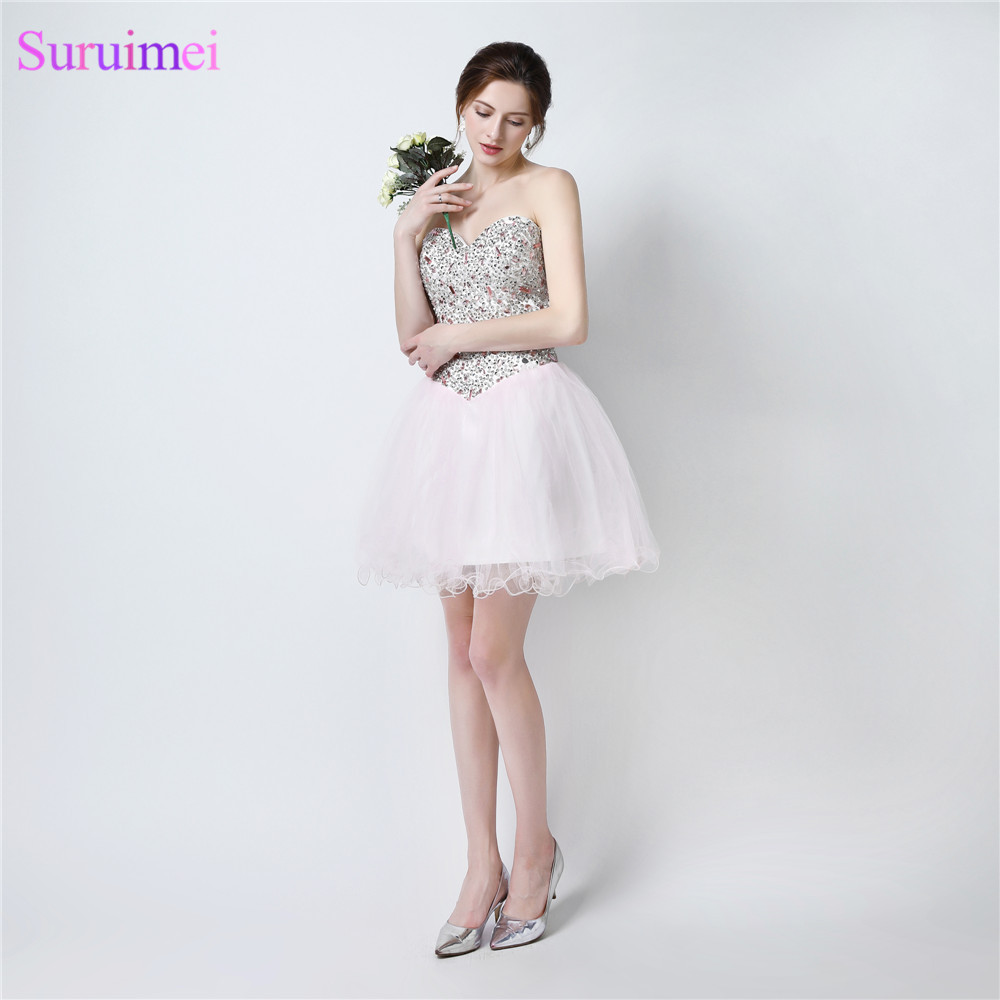 Short Homecoming Dresses Above Knee Mini Beaded Tulle Light Pink Prom Party Gown