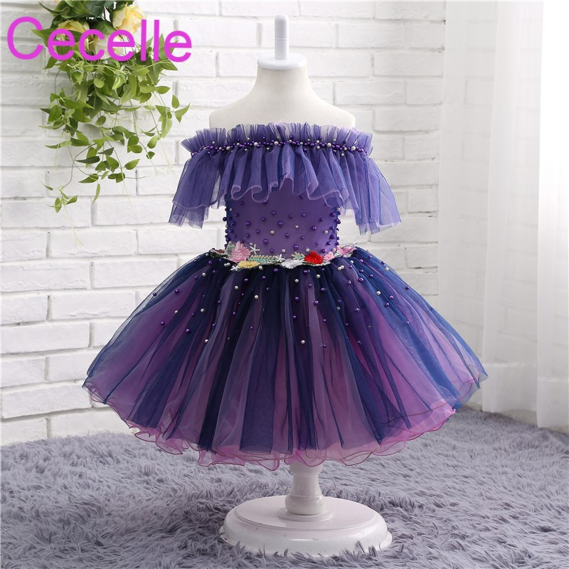 Purple Off the Shoulder   Flower     Girls     Dress   For Wedding Pearls   Flowers   Little   Girls   Pageant   Dress   size 2 4 6 8 10