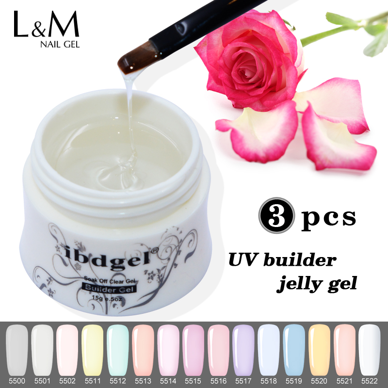 3 stks IBDGEL Builder Gel Acryl Nail Gel Jelly UV Salon Profesional Extension Nail Gel Polish gel voor nagelverlengingen