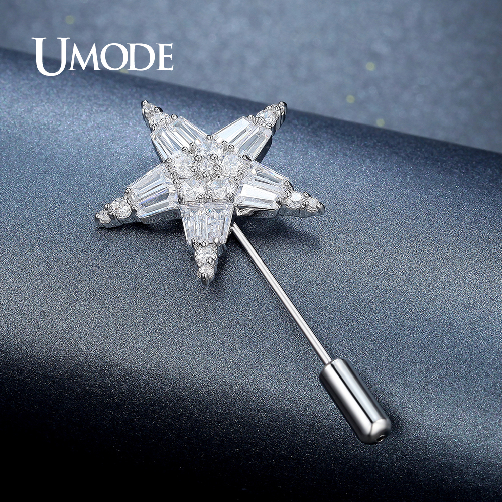 UMODE Clear Cubic Zirconia Rhinestone Crystal Star Brooch for Women Wedding Jewelry Clthing Accessories Brooches and Pins UX0010 umode new pearl brooch jewelry for women large rhinestone crystal flower brooches and pin wedding smowflake collar brooch ux0007