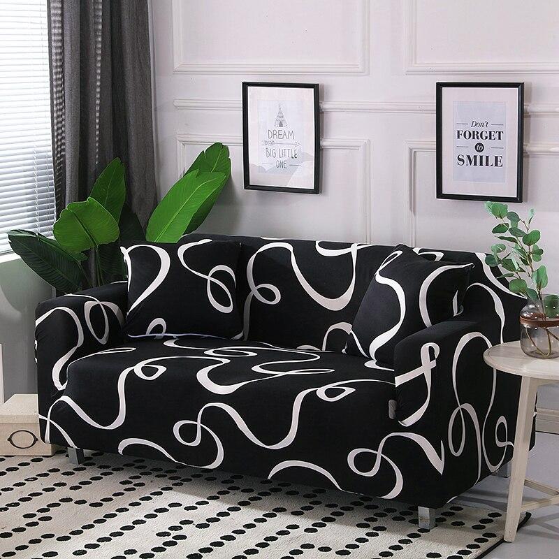 Black White Line Sofa Cover Couch