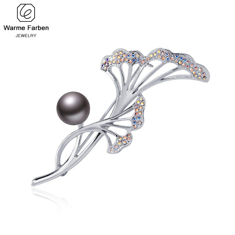Warme Farben Fashion Leaf Brooches for Women Crystal from
