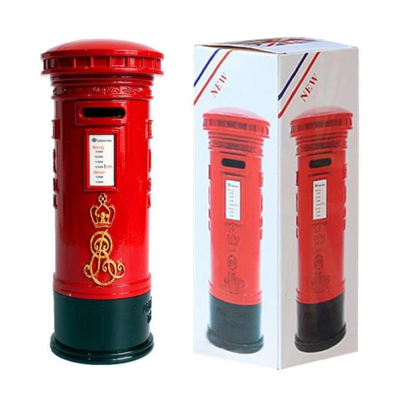 1PC Vintage London Red Mailing Mailbox Saving box Piggy Bank Money Coin Box Desk craft Kids children friend Birthday Gift 3