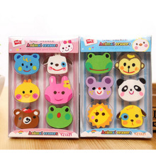 F22 1 Box 6pcs Kawaii Cute Zoo Animals Rubber Erasers Drawing Writing Correction School Office Supply