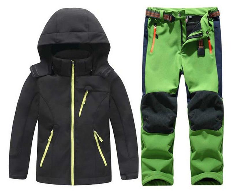 Winter Boys Girls Waterproof Outdoor Softshell Jackets Kids Fleece Sportwear Camping Windproof Skiing Hiking Pant цены онлайн
