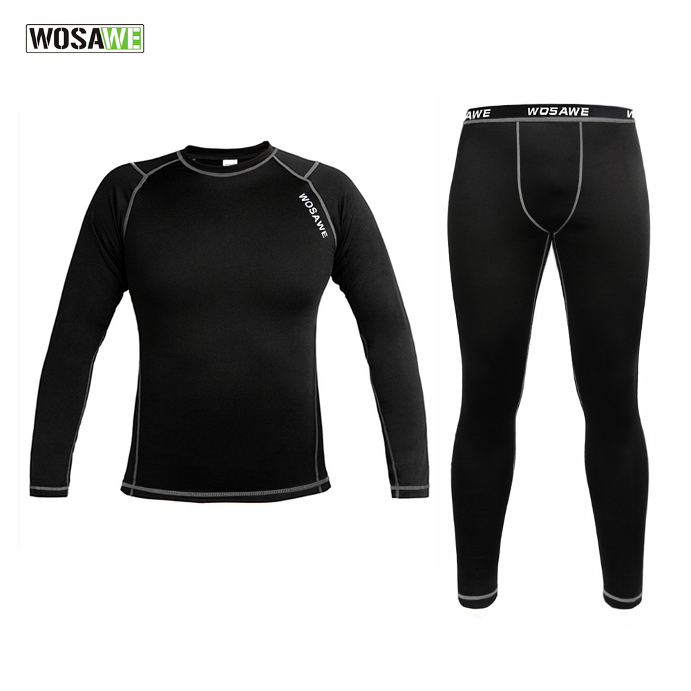 ФОТО WOSAWE Men Thermal Fleece Base Layer Compression Clothing Under Wear Cycling Bike Long Sleeve Jersey Winter Runing Tights