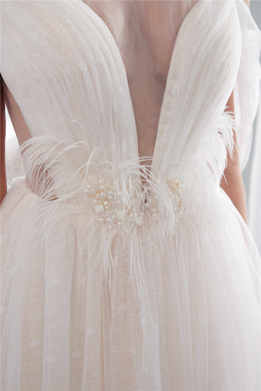 H & S כלה חתונה עם רעלה טול Sheer צוואר אלגנטי כלה שמלת פרל נוצת לטאטא רכבת ללא משענת porte nom mariage