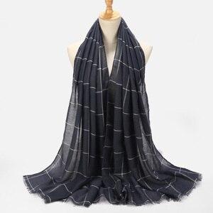 Image 3 - 10pcs Plaids Tartan Cotton Voile Muslim Hijab Scarf For Ladies Long Cross Stripes Double Color Islamic Hijabs Shawl Wrap Scarf