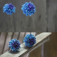 One Piece Blue Sphere Natural Dried Flower With Malleable Iron As Rod Handmade Plant Combination Home