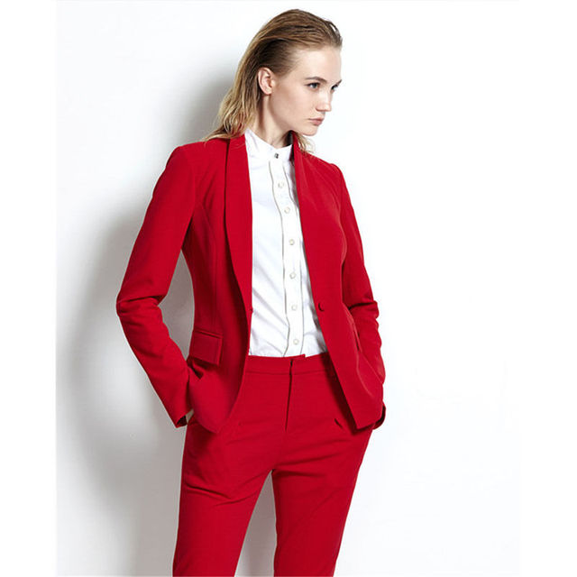Tailored Womens Designer Suits Red 2 Piece Ladies Trouser Suits