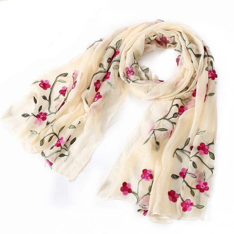 2018 Brand Women Scarf Flower Silk Scarves Shawls Wraps Lady Pashmina Hijab Foulard Summer Beach Blanket Echarpe BFD017