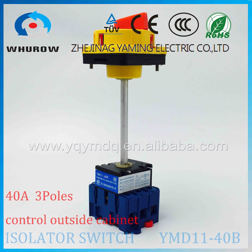 Isolator switch YMD11-40B with padlock aluminum pole 40A 3 poles Load break switch power cut off operate outside cabinet ac 380v 63a 3 pole 2 knife switch circuit control opening load switch