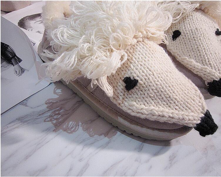 Main Kawaii Casual D'origine Couleur Solide À De Pois Cuir D'hiver Automne En Et Mignon Agneau Chaussures Beige Kaki Coton Crochet La Plat Femmes RXrqzXw