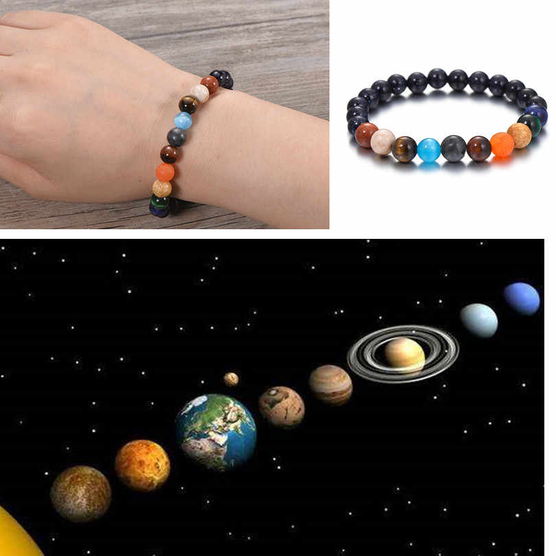 IYOE 8mm Natural Stone Beads Galaxy Planets Solar System Bracelets Men Strand Bracelet For Women Couple Elastic Chakra Jewelry
