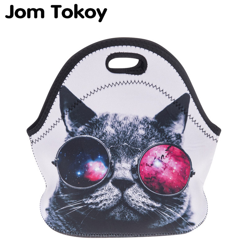 Jom Tokoy sunglasses cat Thermal Insulated 3d print Lunch Bags for Women Kids Thermal Bag Lunch Box Food Picnic Bags Tote Handba цена
