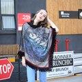 Бренд Теплые женские Зимние Пончо Старинные Цветочные Pringting Женщин Lady Платок Мыса Кашемировый Шарф Пончо С Кистями 571