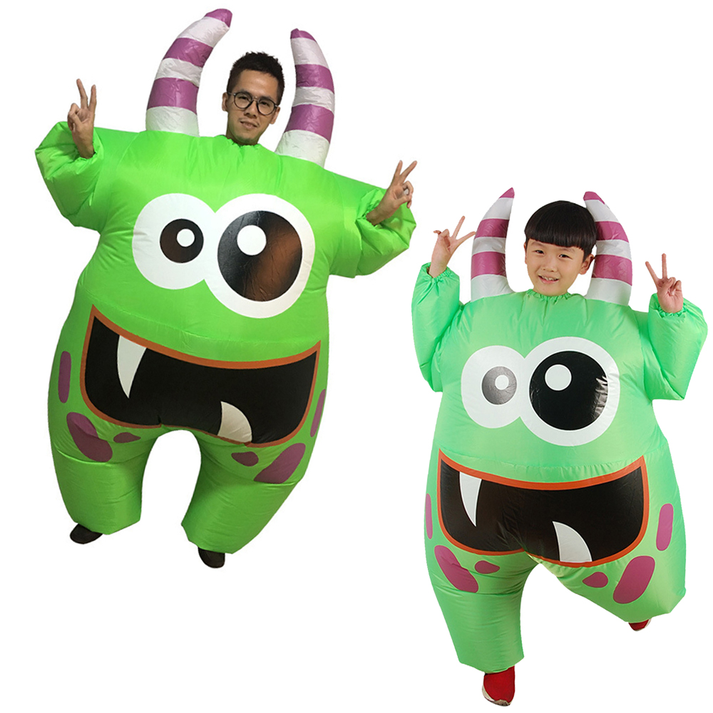 Funny Inflatable Green Mouth Monster Costume for Adult Kids Halloween Inflatable Blow Up Costume Boys Inflatable Costumes