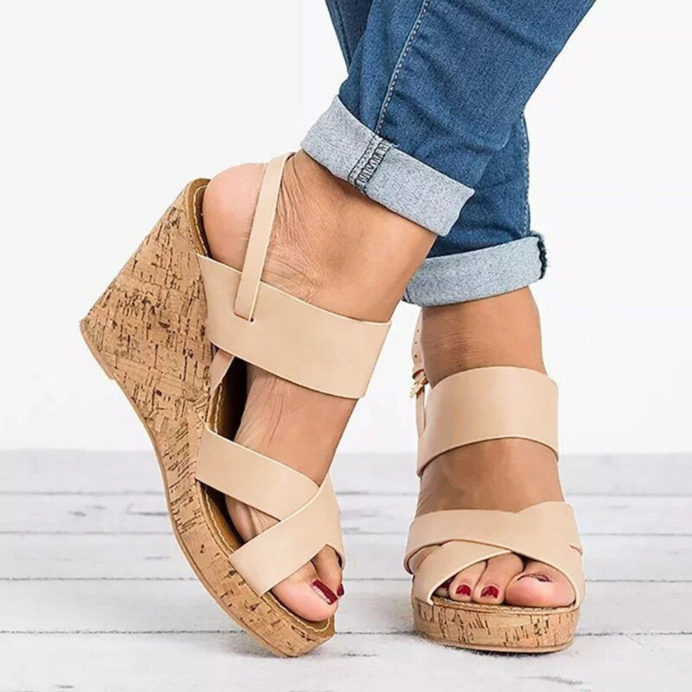6d3f0e02cd1 Women Peep Toe Breathable Beach Sandals Boho Bukcle Strap Casual Wedges  Shoes women platform sandals female summer shoes women-in Low Heels from  Shoes on ...