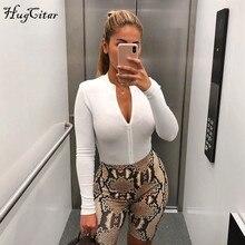 Hugcitar ribbed knit long sleeve zipper high neck bodycon sexy body 2019 autumn winter women fashion