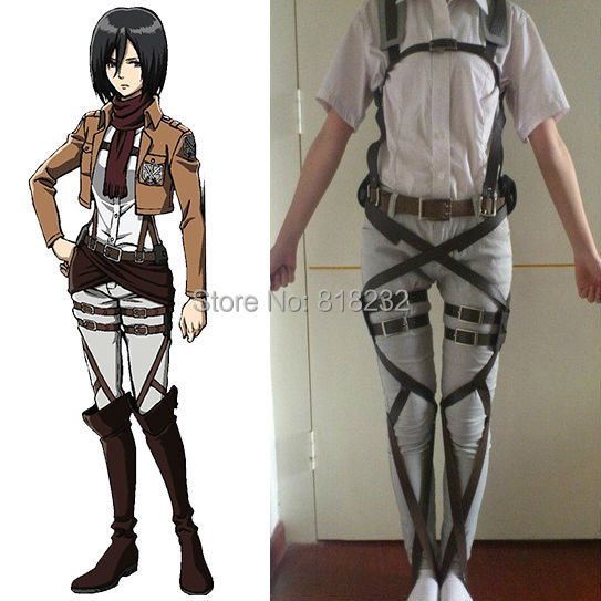 Attack on Titan/Shingeki no Kyojin Mikasa Ackerman Recon Corps Belt Straps Hookshot Uniform Outfit Anime Cosplay Costumes