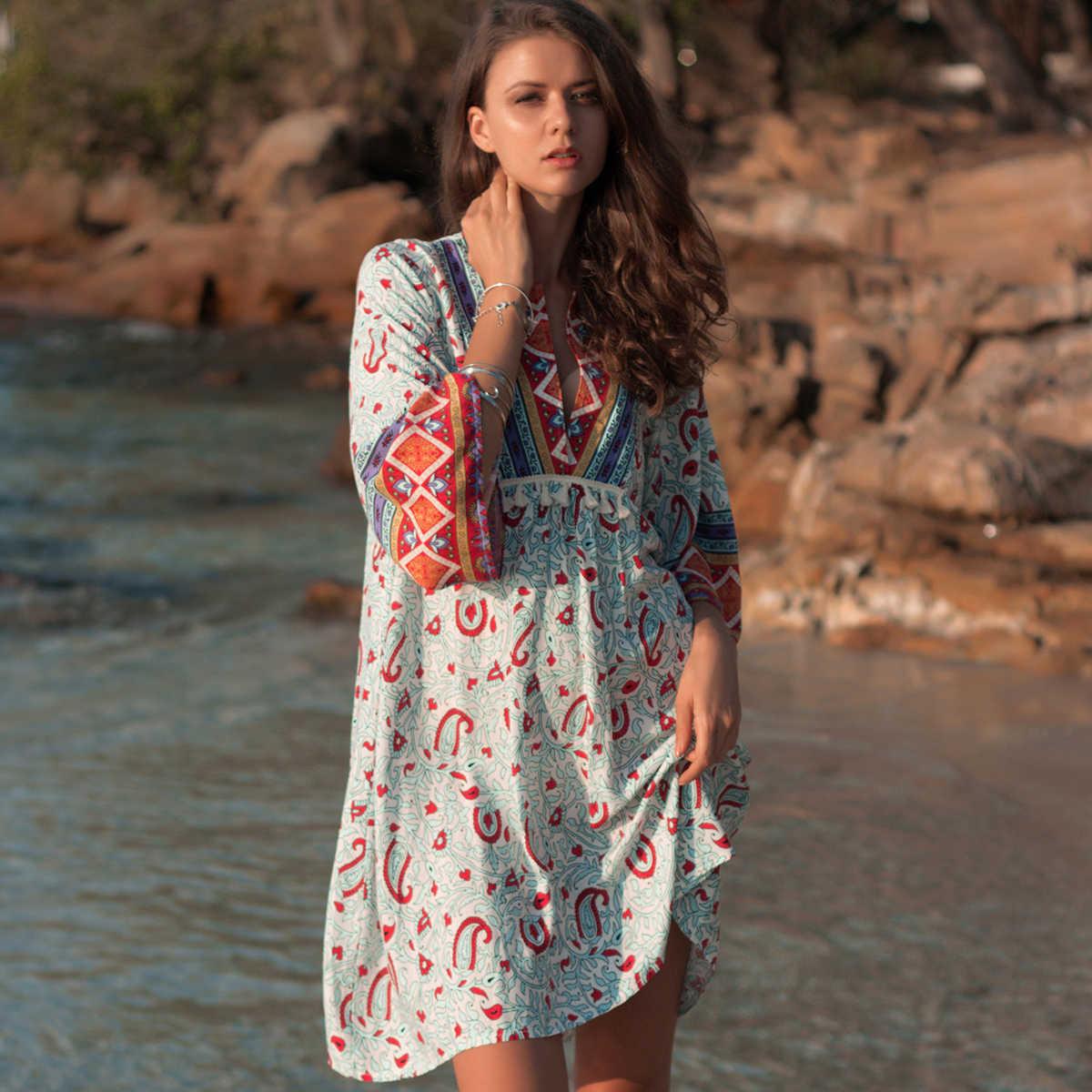 38a7c25777 Bohemian Print Mini Dress Women Causal 2019 Summer Long Sleeve Vneck Sexy Dress  Ladies Boho Loose