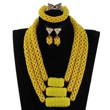 Последние Свадебные африканские бусы ручной работы Ювелирный Набор высокого качества ожерелье, украшенное кристаллами Набор ANJ615