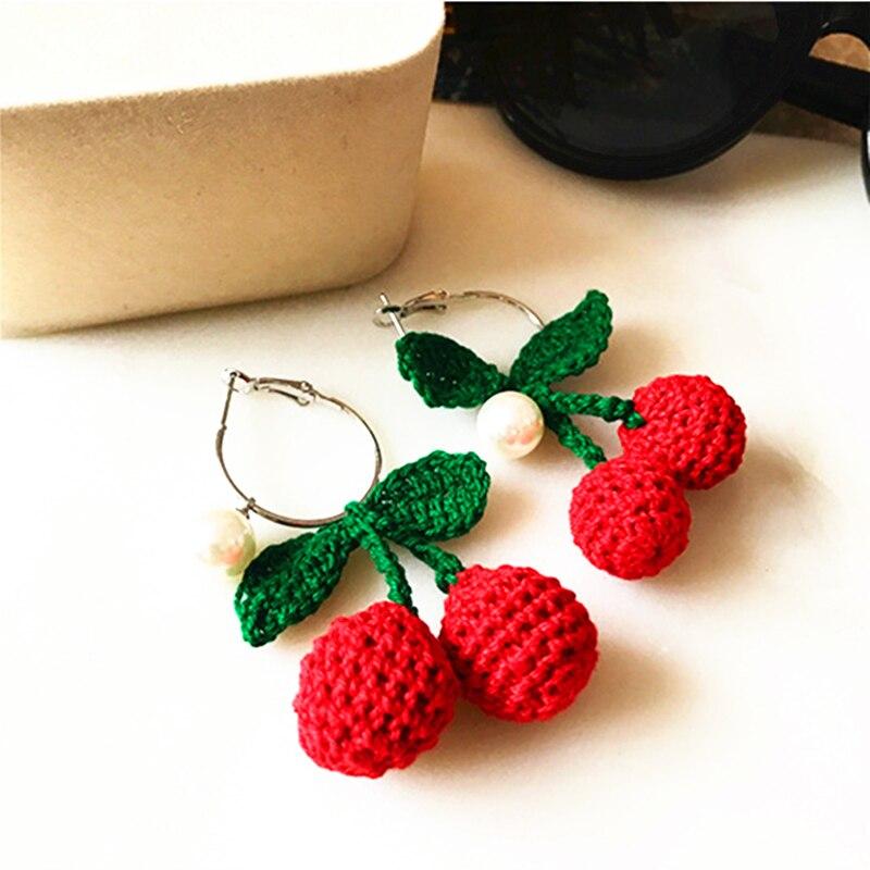 Doreen Box Alloy Silver Stud Ear Ring Woolen Craft Cherry Pendants Imitation Pearl Fashion Jewelry Fruit Series For Women,1 Pair