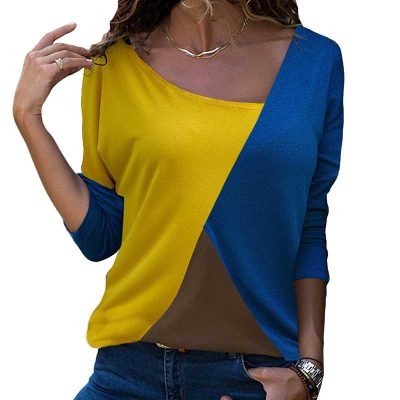 Laamei ถัก Tee ฤดูใบไม้ผลิผู้หญิงฤดูใบไม้ร่วงแขนยาวเสื้อแฟชั่น Patchwork สีบล็อกเสื้อฝ้ายเสื้อ Casual หลวม OL เสื้อยืด