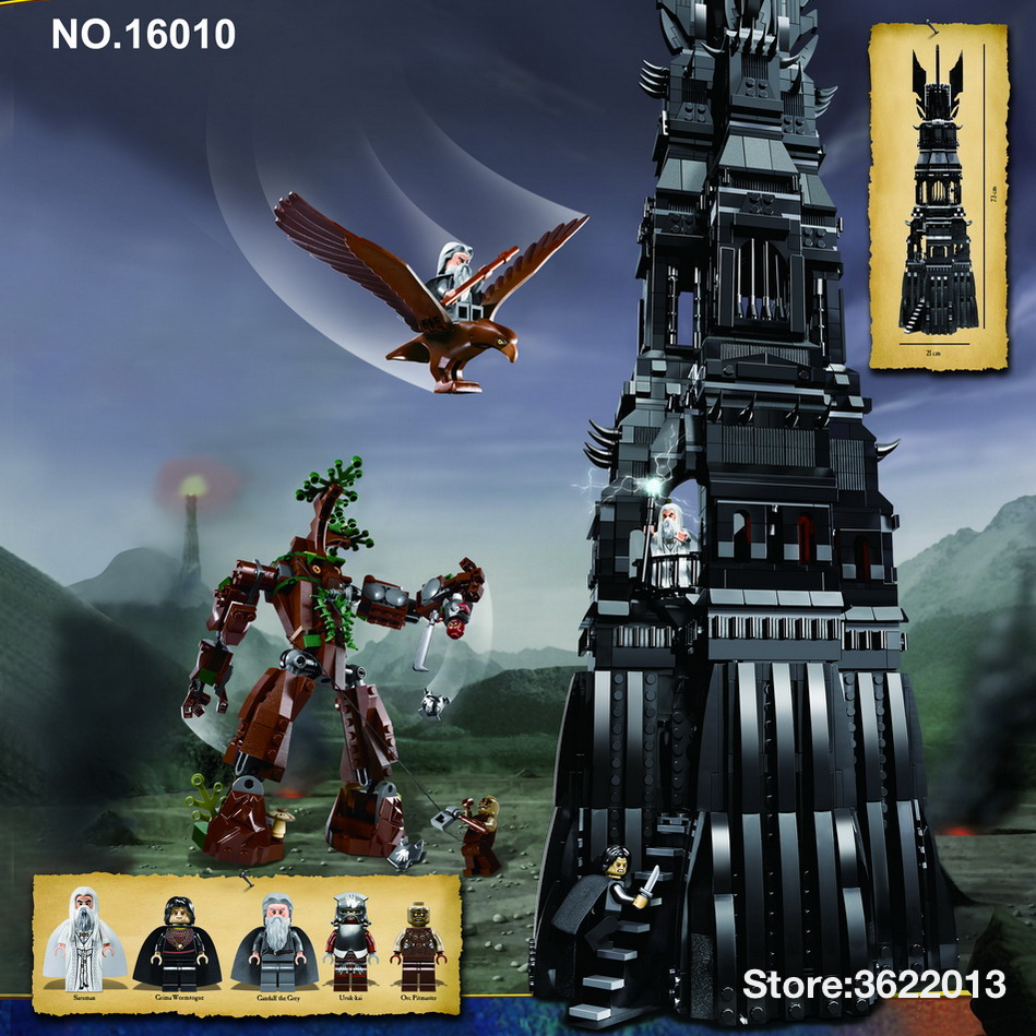 16010 2430pcs Bricks Lord of the Rings Tower of Orthanc Model Building Blocks toys for Children Compatible Legoe 10237 Lepine 16018 lepin lord of the rings the ghost pirate ship model building blocks enlighten figure toys for children compatible legoe