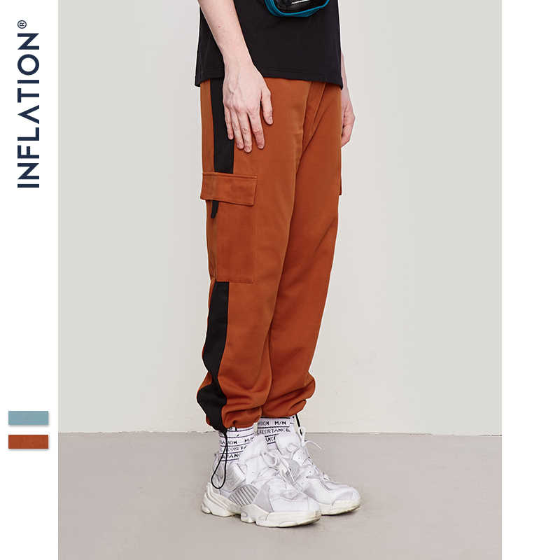 Şişirme erkek gevşek Harem pantolon Jogger pantolon Sweatpants Patchwork renk Hip Hop Streetwear Harem Joggers pantolon Unisex 8851W