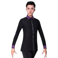 Mens Dance Tops Spring Latin Ballroom Modern Tango Samba National Standard Competition Long Sleeve Dancewear Top Shirt For Man