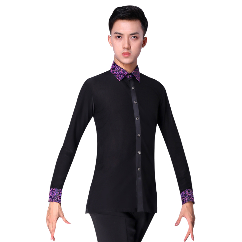 Mens Dance Tops Spring Latin Ballroom Modern Tango Samba National Standard Competition Long Sleeve Dancewear Top Shirt For Man