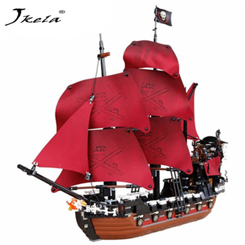 [Jkela] 1151Pcs Pirates Of The Caribbean Queen Anne's Reveage Ship Model Building Kits Compatible With Legoingly gift for child 2017 new toy 16009 1151pcs pirates of the caribbean queen anne s reveage model building kit blocks brick toys