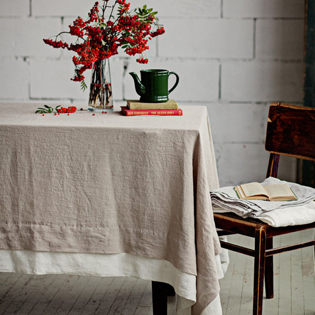 Two Tone 100% Pure Linen Table Cloth Tablecloths Universal Dust Cover  Coffee Table Towel Customer