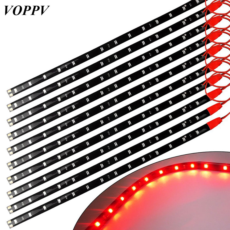 VOPPV High Power 30cm Car LED Strip Light 3528 SMD Waterproof DC 12V Indoor/Outdoor Fog Light Bar Lamp Tape Strings