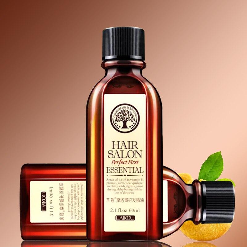 6PCS 60ml Morocco Nut Hair Care Oil Argan Oil Keratin Free Curly Nourish Scalp Repair Dry Treatment Essential Oil Conditioner