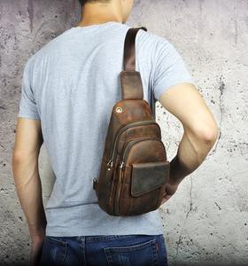 "Image 4 - Heißer Verkauf Männer Crazy Horse Leder Casual Mode Brust Sling Tasche 8 ""Tablet Design Schulter Tasche Kreuz körper tasche Männlichen 8013 d"