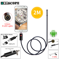 Black Endoscope 5.5mm Lens Borescope for Android Phone HD 2M Inspection OTG USB Android Camera 6 LED Waterproof Endoscopio