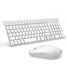 Wireless Keyboard and Mouse Combo 2.4G Slim Portable Full Size Ergonomic 2400 DPI Adjustable Silver