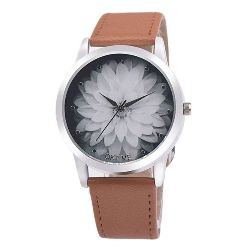 NEW Fabulous Fashion Flower Leather Analog Quartz Vogue Wrist Watch relojes mujer women watches Dropship fabulous 2016 quicksand pattern leather band analog quartz vogue wrist watches 11 23