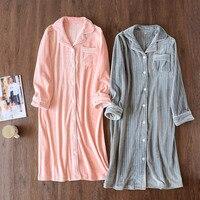 QWEEK Winter Nightgown Stripe Flannel Women Sleepwear Thick Sleepshirt Warm Home Wear Long Sleeve Nightdress Casual Sleep Lounge