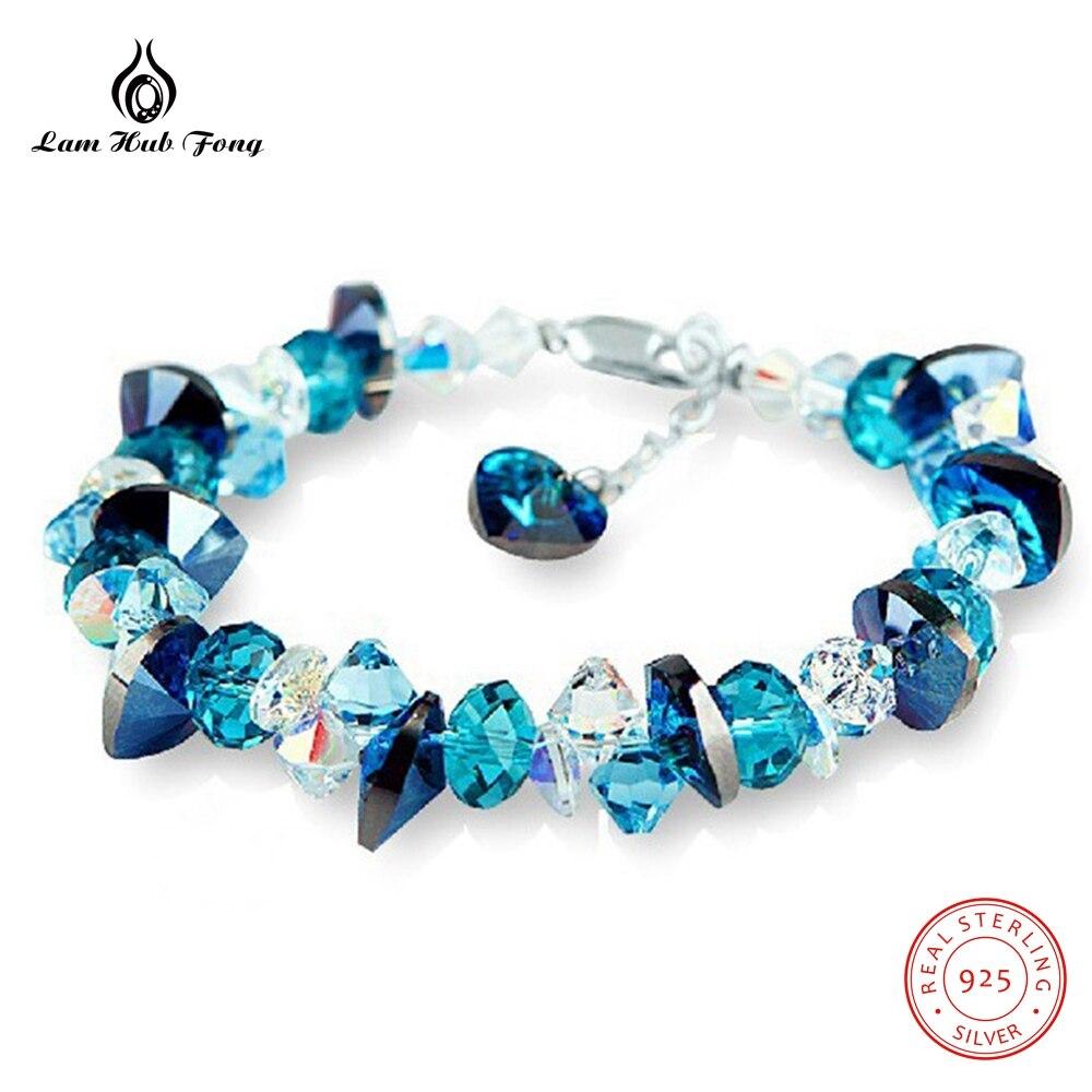 Haute qualité bleu autrichien cristal océan coeur bracelet à breloques pour les femmes 925 en argent Sterling Bracelets cadeaux bijoux de mariage