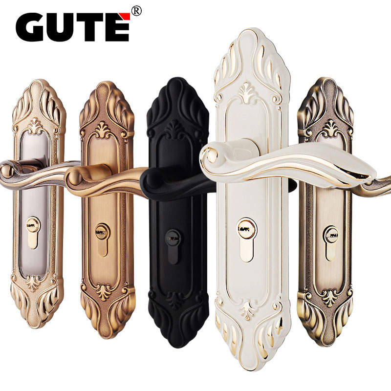 GUTE Double Latch Indoor Door Lock with Keys Zinc Alloy Escutcheon Handle Electroplated Suitable for Left-hand and Right-hand original audio note 100k double left and right channels intermediate balance potentiometer
