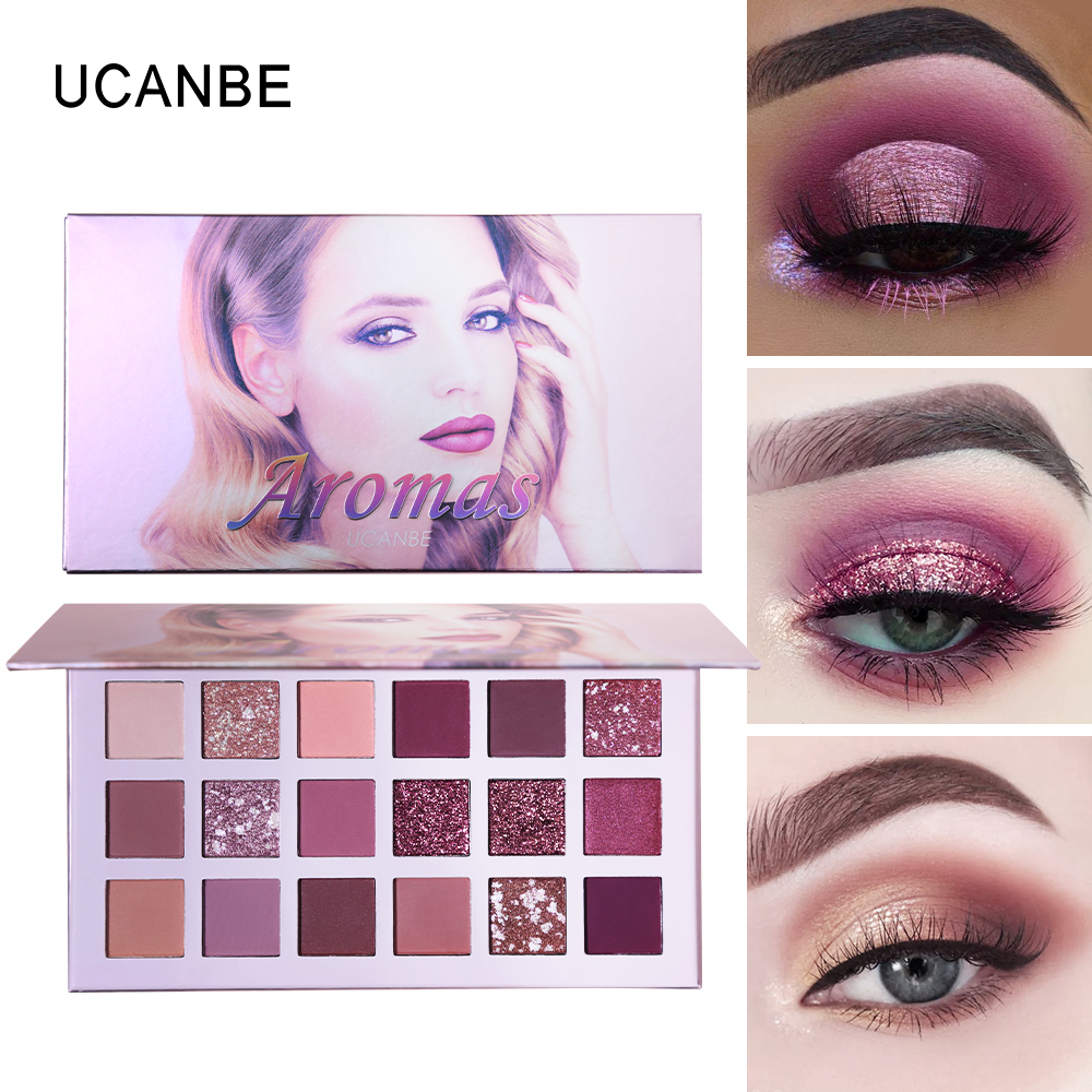 UCANBE Cosmetics Aromas New Nude Eye Shadow Palette 18 Color Eyeshadow Shimmer Highly Pigmented Matte Glitter Waterproof