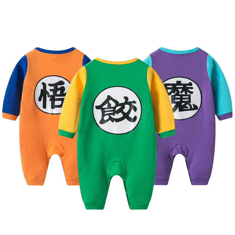 100% Cotton Dragon Ball Baby Rompers Newborn Baby Boys Clothes SON GOKU Toddler Jumpsuit Chinese Characters Printing Bebe Onesie
