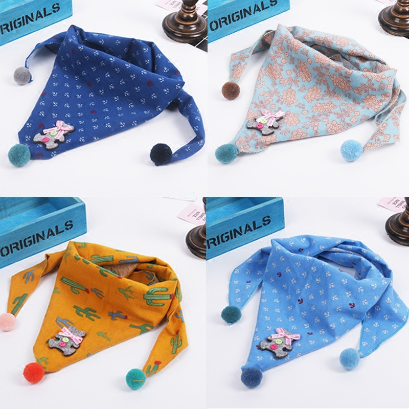 Autumn winter new children bear star cartoon triangle scarf  baby wholesale collar cartoon dost star cute girls scarves kids