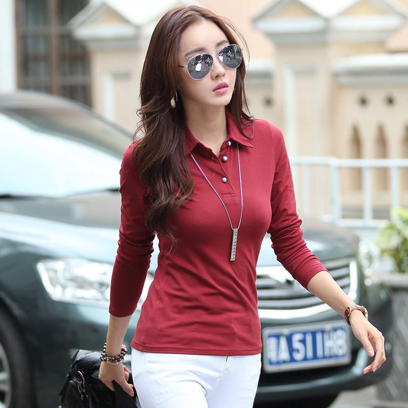 ce92476fb5b women shirts button down plain black shirt plain tops femme women long  sleeve manga larga cotton-in Polo Shirts from Women s Clothing on  Aliexpress.com ...